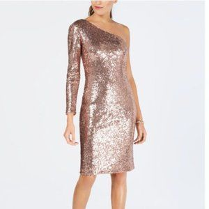 Night Way Blush One Shoulder Sequin Sheath Dress